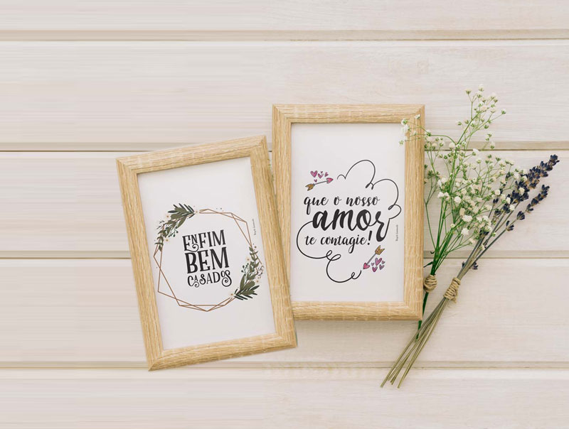 Download: 5 mini posters para casamento