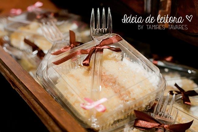 O bolo de casamento da Tamires (bolo em pedaços)