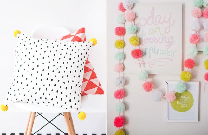 decoração de quarto infantil - pompom de lã