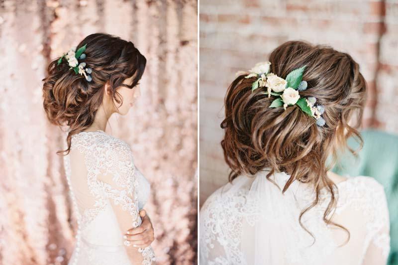 20 inspirações de penteados para noivas com cabelo enrolado