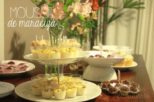 Mousse de maracujá no copinho, para casamentos, noivados e chás