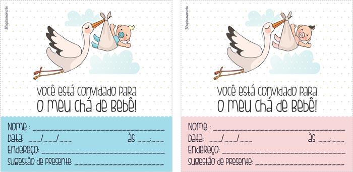 Convites gratuitos para chá de bebê