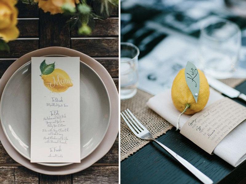 Decoração de casamento com limões e laranjas