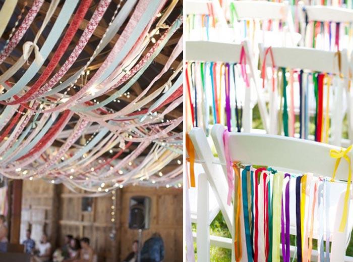 #coisinhasqueamamos Decoração de casamento com tiras de tecido