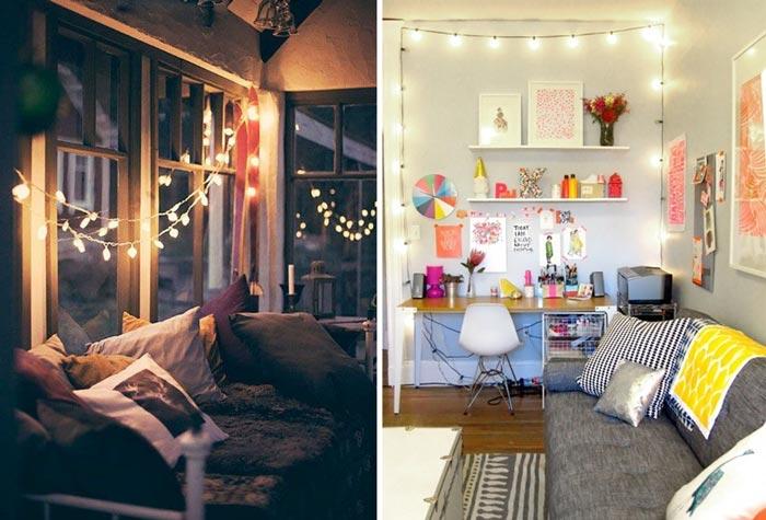 10 inspirações para decorar a casa com luzinhas