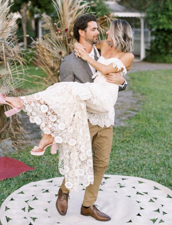 Inspiração de casamento boho com macramê e flores secas