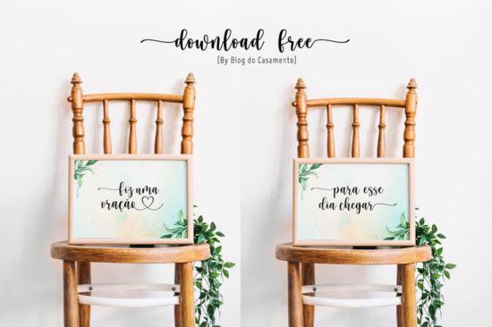 Plaquinha para cadeiras dos noivos: Download Free