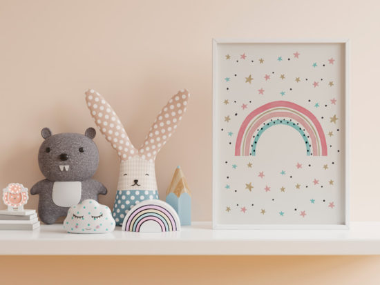 Posters gratuitos para quarto infantil: Arco Íris (para meninos e meninas)