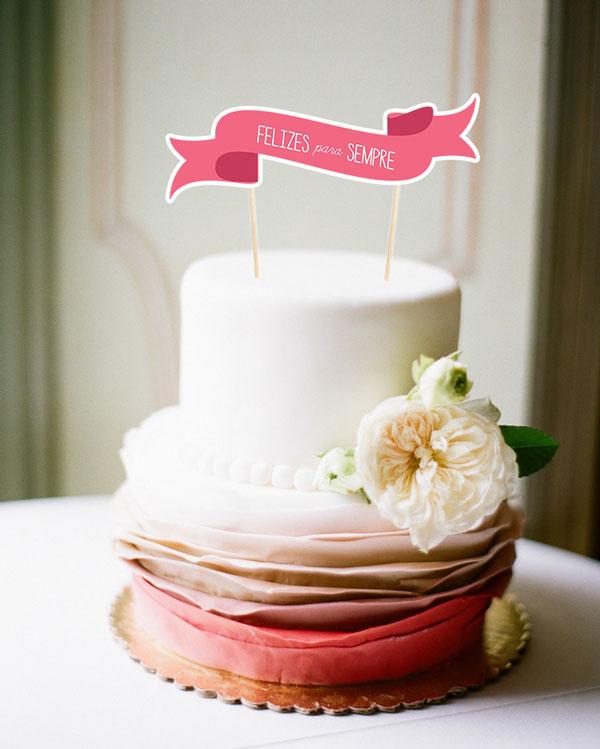 Topo de bolo gratuito para seu noivado ou casamento